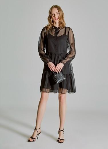 People By Fabrika Şifon Elbise Siyah